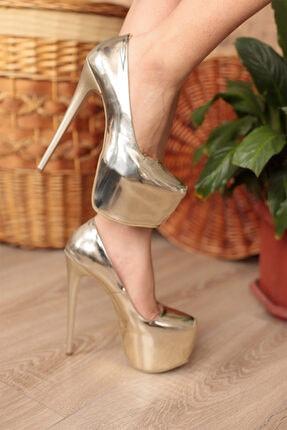 PUNTO Kadın Altın Ayna Platform Yüksek Topuklu Ayakkabı