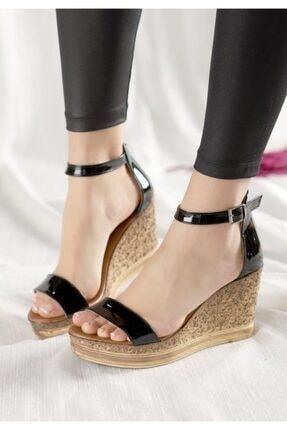 ESPARDİLE Kadın Siyah Rugan Dolgu Topuk Sandalet