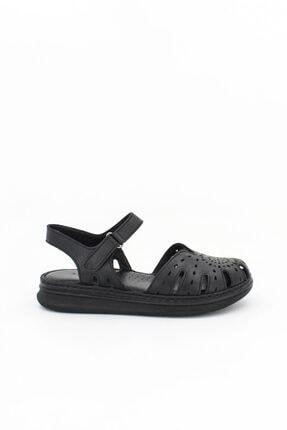 Deripabuc Hakiki Deri Siyah Kadın Deri Sandalet Dp59-0117