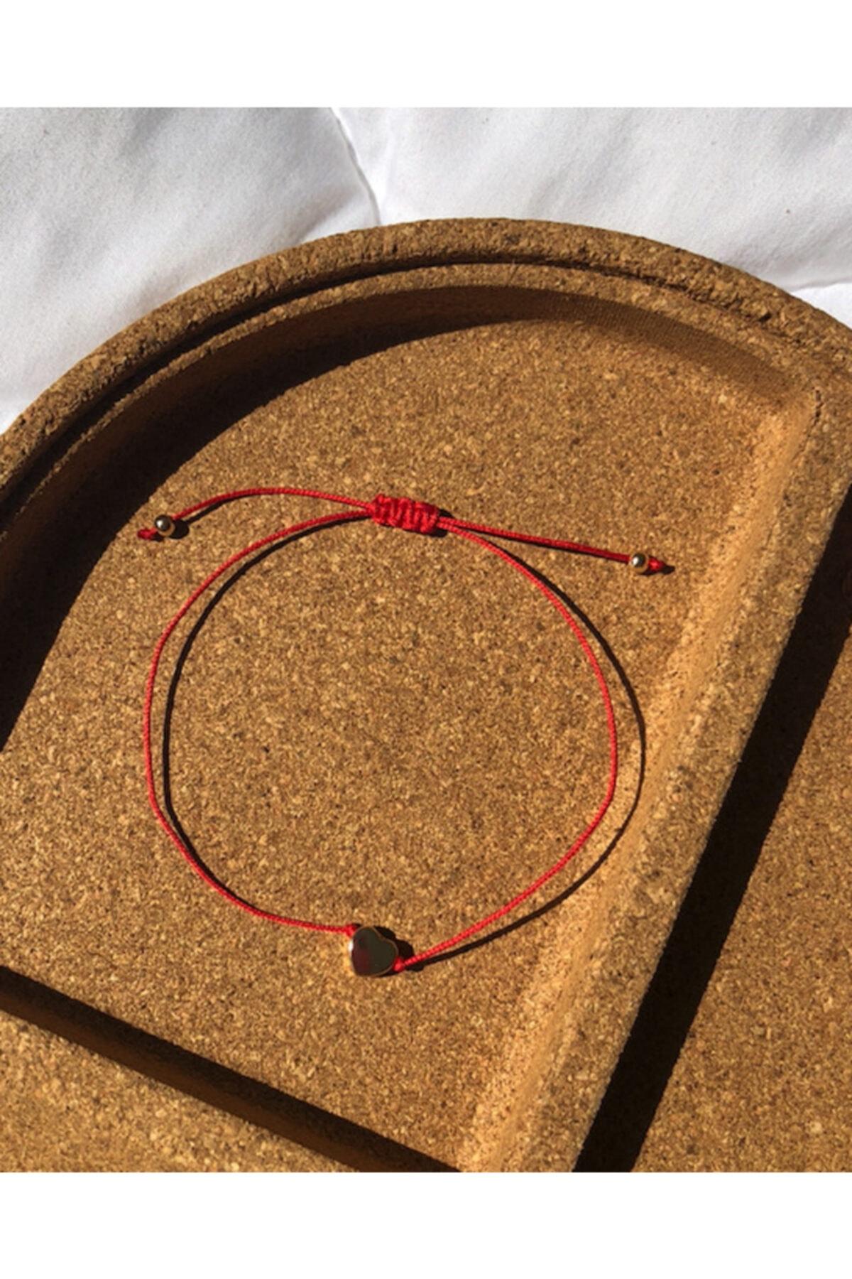 elegans aksesuar Kadın Kırmızı İpli Kalpli Şans Bilekliği 2