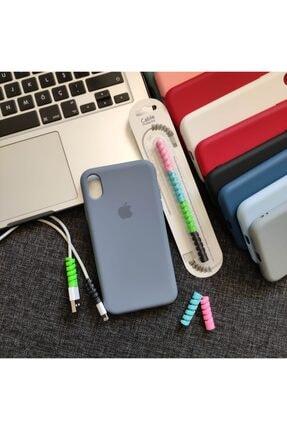 Mislina Iphone Xr Uyumlu Logolu Kılıf + Kablo Koruyucu