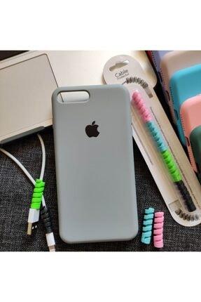 Mislina Iphone 7 Plus Veya 8 Plus Uyumlu Logolu Lansman Kılıf + Kablo Koruyucu