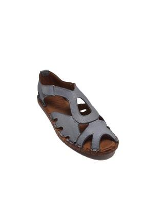 KAPAR Kadın Gri Hakiki Deri Sandalet
