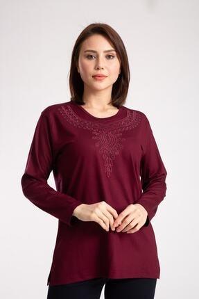 Nacar Anne Kadın Bordo Penye Bluz ( Yaka Deseni Farklılık Gösterebilir )