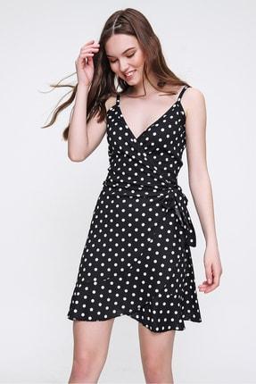 Trend Alaçatı Stili Kadın Siyah İp Askılı Fırfırlı Kruvaze Elbise ALC-018-104-001
