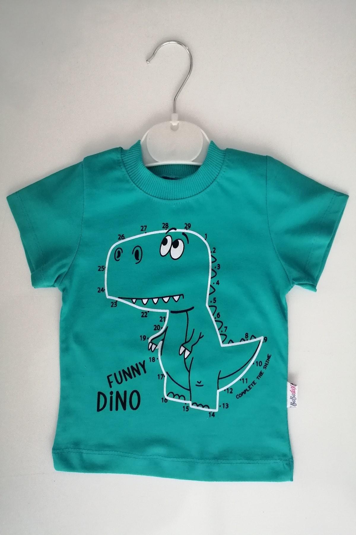 Bebedax Erkek Bebek Yeşil Renk Dinozor Baskılı 100% Pamuk Alt Üst Takım 2