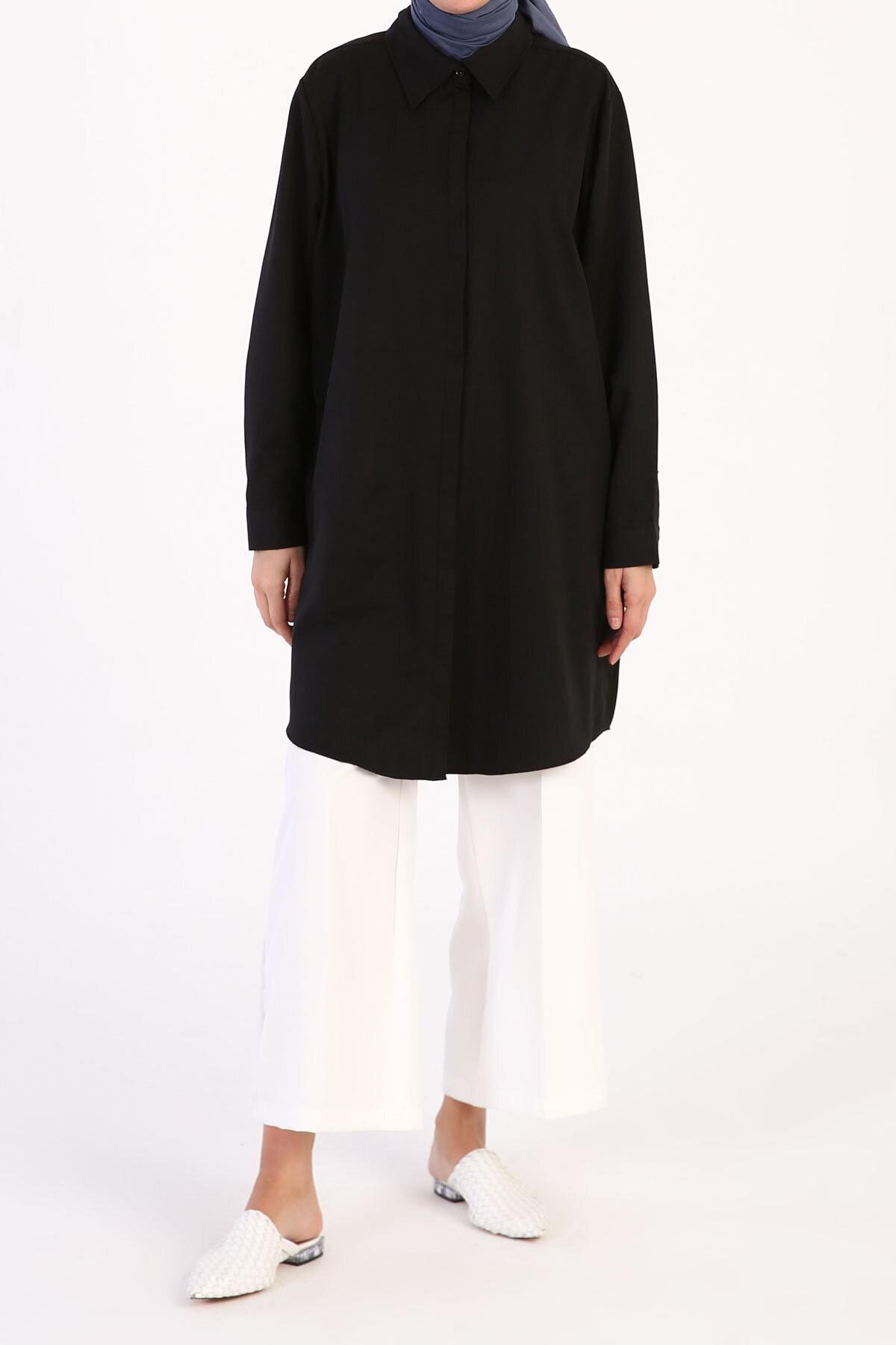 ALLDAY Siyah Büyük Beden Basic Gömlek Tunik 2