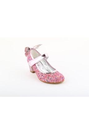 bunnyonthego Cam Kırığı Taş Işlemeli Kelebek Figürlü Pembe Renkli Topuklu Kız Çocuk Ayakkabı
