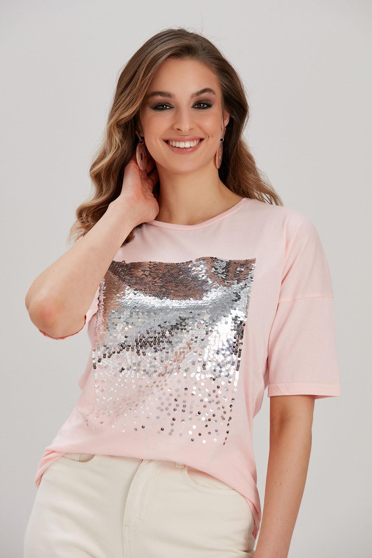 Y-London Kadın Pembe Payetli T-Shirt YL-TS99819