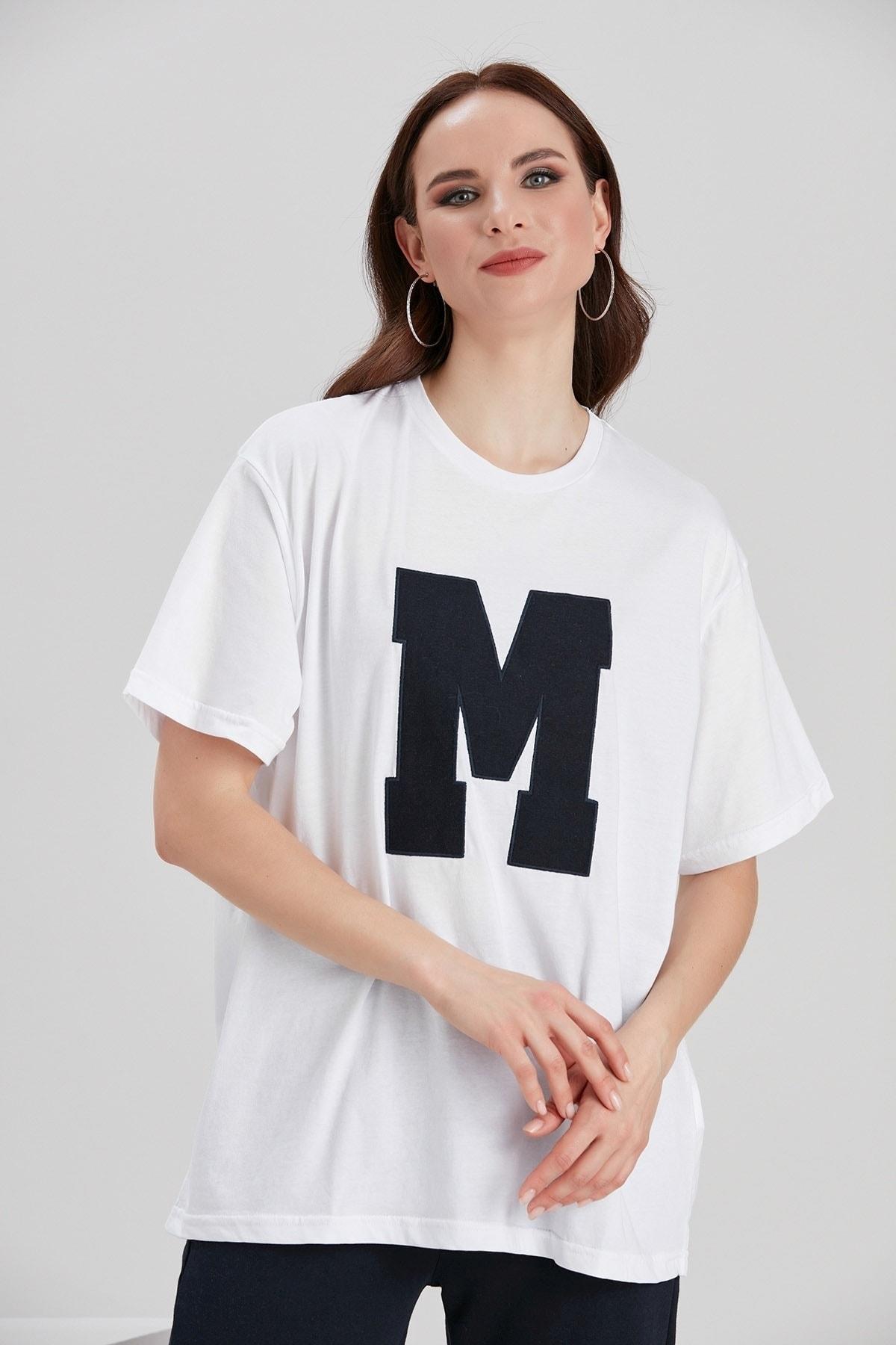 Y-London Kadın Beyaz Baskılı T-Shirt YL-TS99694