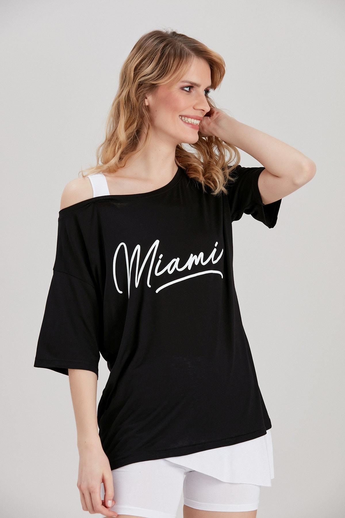 Y-London Kadın Siyah Yazı Baskılı Omuz Detaylı T-Shirt YL-TS99791