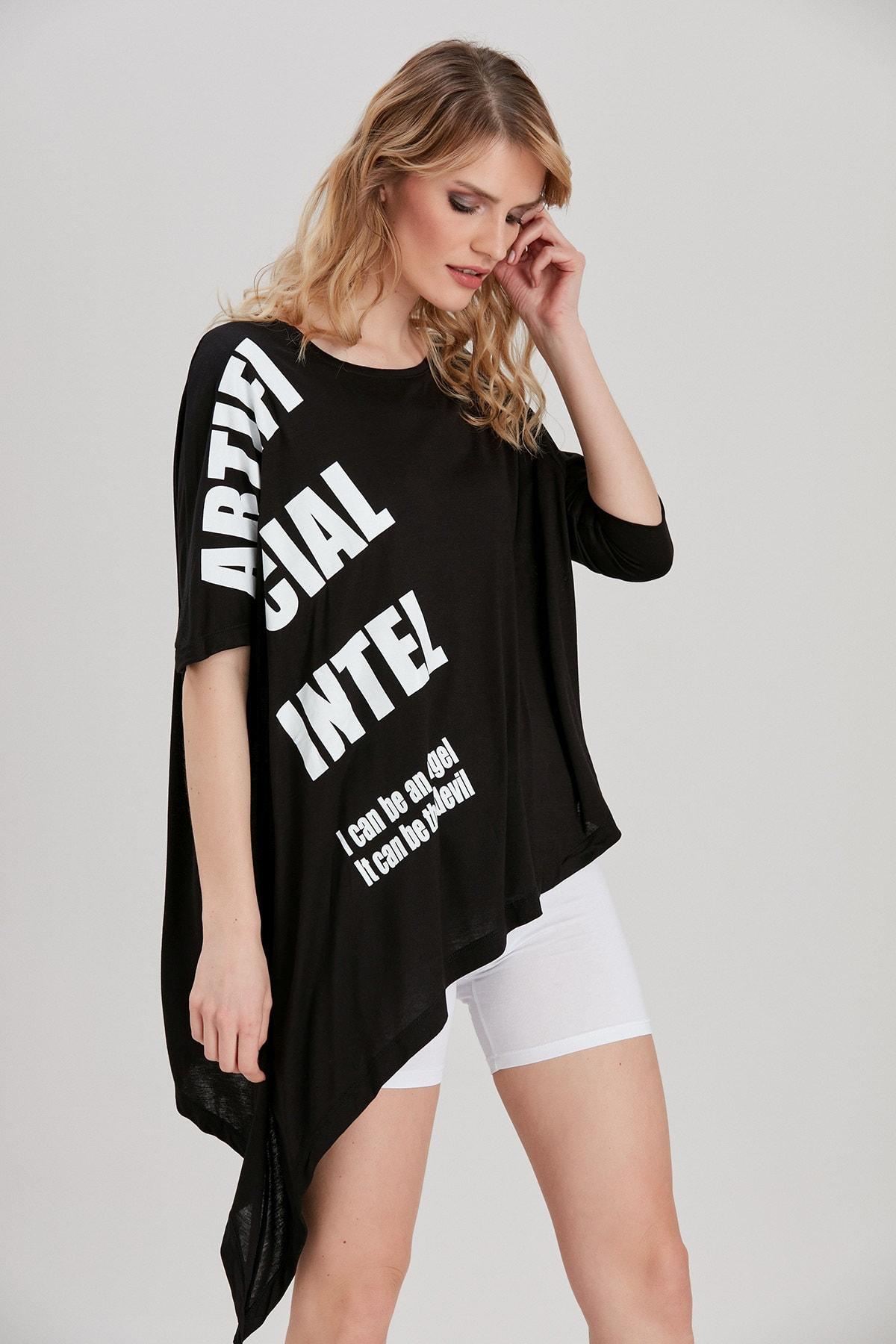 Y-London Kadın Siyah Yazı Baskılı T-Shirt YL-TS99760