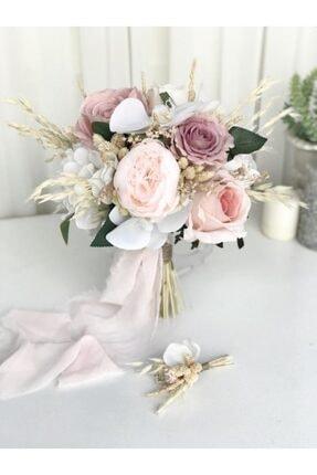 Almila Store Yeni Sezon Soft Pembeli Beyazlı Gelin Buketi Ve Damat Yaka Çiçeği
