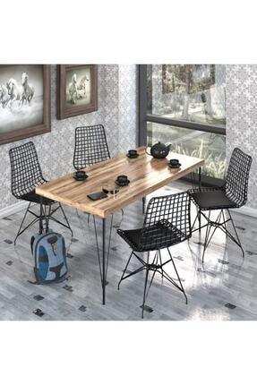 NEMSA METAL 120* 60 Yemek Masa Takımı Mutfak Masası Cafe Masası 4 Adet Tel Sandalye 1 Adet Masa