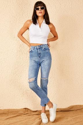 Bianco Lucci Kadın Dizleri Yırtık Skinny Pantolon 30011037