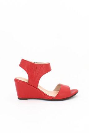 Deripabuc Hakiki Deri Kırmızı Kadın Dolgu Topuklu Deri Sandalet Dp38-1130