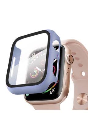 Apple Microsonic Watch Series 5 44mm Kılıf Matte Premium Slim Watchband Lila