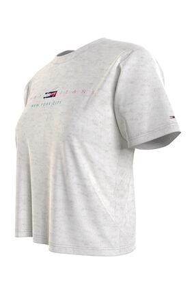 Tommy Hilfiger Kadın Gri T-Shirt TJW BXY CROP MODERN LOGO TEE DW0DW09923
