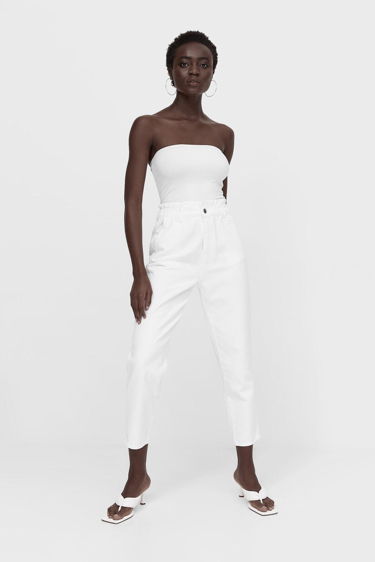 Stradivarius Kadın Beyaz Baggy Fit Fitilli Jean
