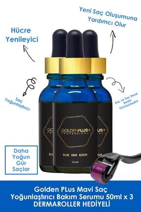 GoldenPlus Golden Plus Mavi Saç Yoğunlaştırıcı Bakım Serumu 3x50 ml  Dermaroller
