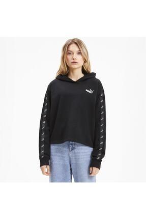 Puma Kadın Siyah Amplıfıed Kısa Kesim Kapüşonlu Sweatshirt