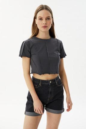 TRENDYOLMİLLA Antrasit Biyeli Crop Örme Bluz TWOSS21BZ2050