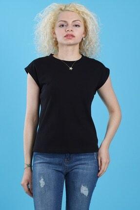 Arlin Kadın Double Kol Dik Yaka Tam Kalıp Siyah Bluz