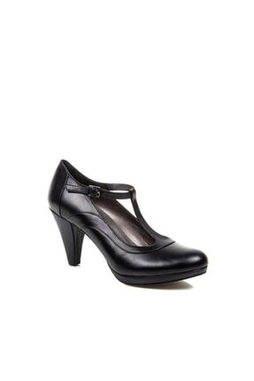 Beta Shoes Hakiki Deri Kadın Siyah Topuklu Ayakkabı