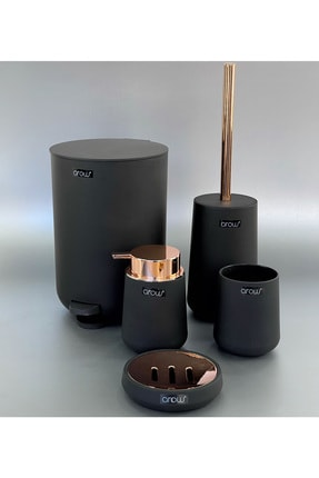 AROW Basmalı Çöp Kovalı 5 Parça Lüx Akrilik Banyo Seti Siyah