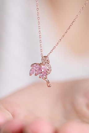 LOTUS GÜMÜŞ Flamingo Model Pembe Taşlı 925 Ayar Gümüş Zincir Kadın Kolye