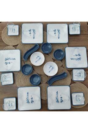 Keramika Peakgift 6 Kişilik 26 Parça Mavi Çiçek Desenli Kare Kahvaltı Takımı