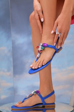 Oblavion Kadın Mavi Hakiki Deri Günlük Taşlı Sandalet