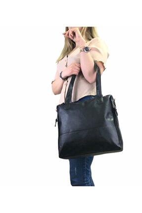 Tuda Çanta Soft Deri Siyah Kadın Fermuar Detaylı Omuz Çantası
