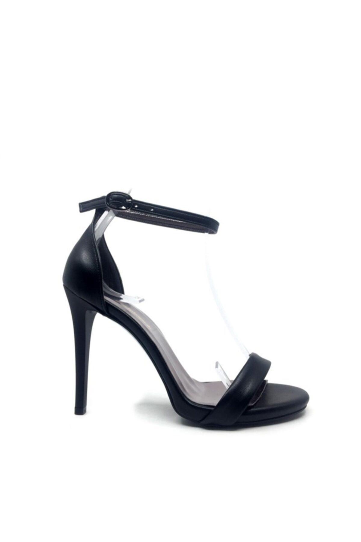 trendytopuk Kadın Siyah Yüksek Topuklu Tek Bant Ayakkabı 2