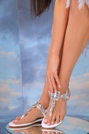 Oblavion Kadın Beyaz Hakiki Deri  Günlük Taşlı Sandalet