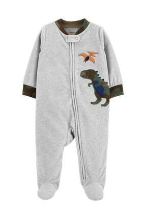 Carter's Erkek Bebek Polar Tulum Dinozor Desenli Kamuflaj Gri