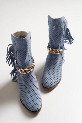 LuviShoes Kadın Hakıkı Derı Mavı Suet Yazlık Bot 213