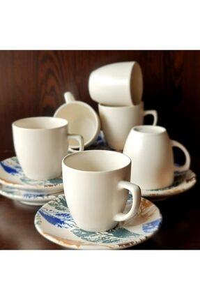 HomeTarz Mat Kahve Fincan Takımı Yaprak Desenli Bardak Seti 6' lı