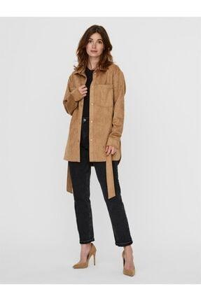 Vero Moda Kadın Kahverengi Vmboostdebbıe Faux Suede Jacket Mont 10239321