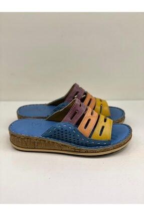 Birol Ayakkabı Kadın Mavi Hakiki Deri Renkli Terlik