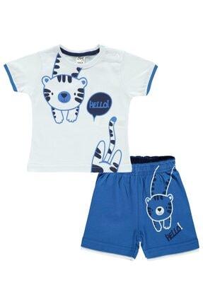 Civil Baby Erkek Bebek Beyaz Mavi Şortlu Takım 6-18 Ay