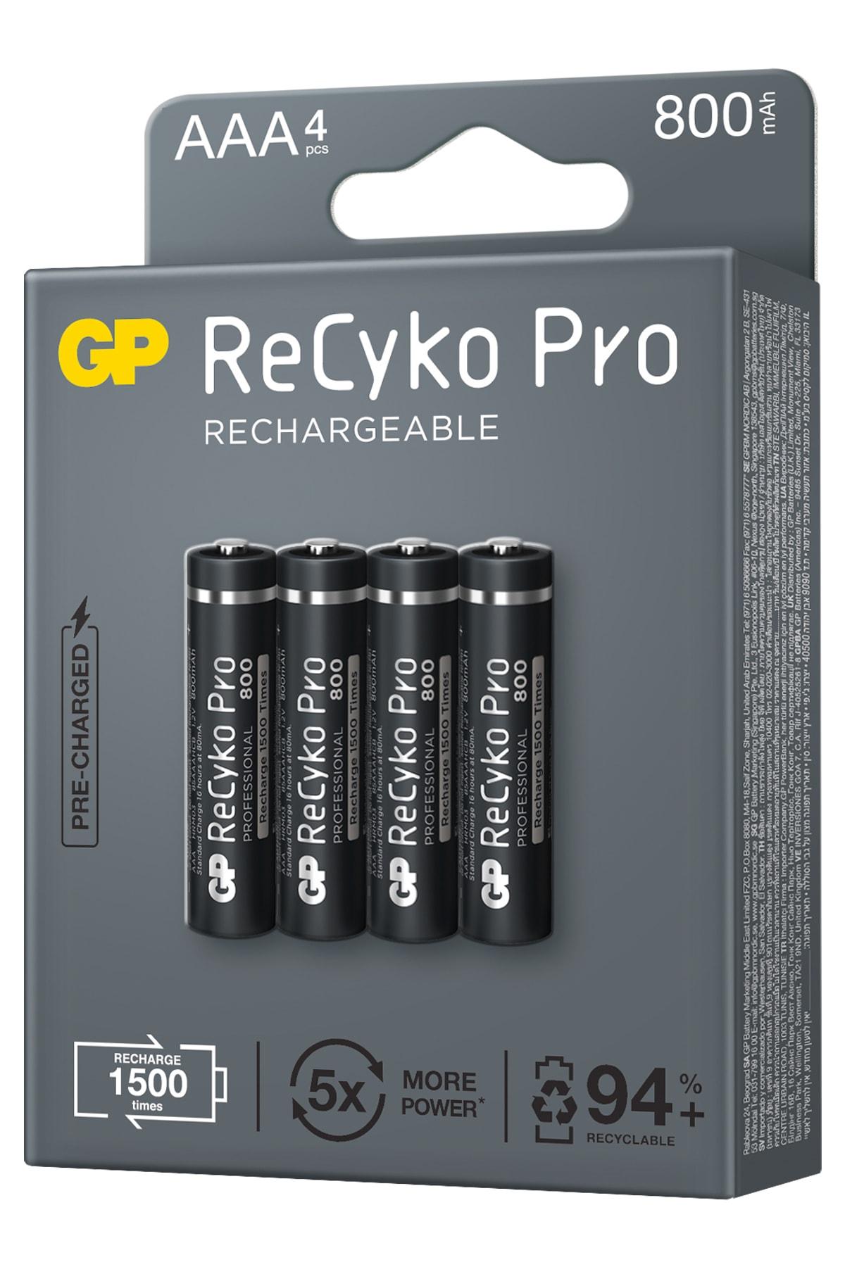 GP Batteries Recyko+ Pro Aaa 800 Mah Ince Ni-mh Şarjlı Pil, 1.2 Volt, 4'lü Kart 2