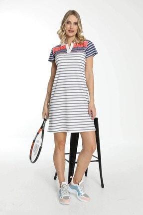 Mossta Kadın Beyaz Kısa Kollu Yakalı Elbise