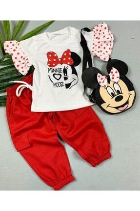 Beren Kids Kız Bebek Kırmızı Mickey Desenli Çantalı Alt Üst Takım