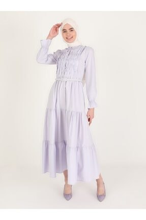 Loreen Kadın Lila Volan Detaylı Düğmeli Elbise