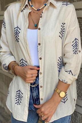 ModaDeniz Kadın Bej Nakış Işlemeli Keten Pamuk Gömlek