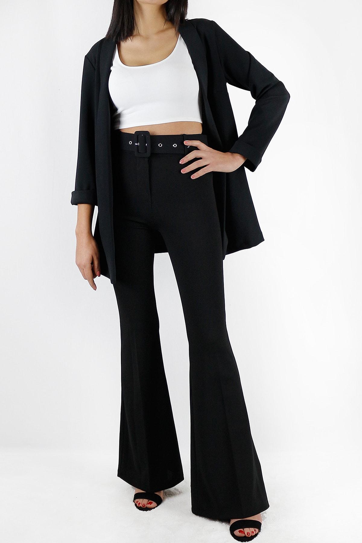 SAR BUTİK 1.kalite Krep Kumaş Yüksek Bel Kemerli Ispanyol Paça Pantolon 1
