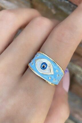 TAKIŞTIR Altın Renk Açık Mavi Göz Figürlü Ayarlanabilir Yüzük
