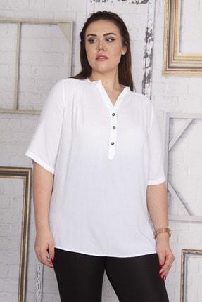 Şans Kadın Beyaz Ön Pat Düğmeli V Yakalı Bluz 65N24078
