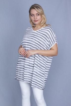 Şans Kadın Kemik V Yakalı Düşük Kol Çizgili Bluz 65N24234